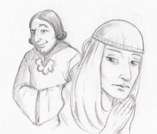Pencil Drawing of Christina of Markyate with Bishop Flanders by Joanna Scott   Copyright by Joanna Scott
