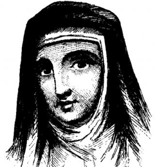 Purported image of Dame Juliana Berners, O.S.B. (1904)