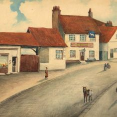 'Old White Horse Inn, Clay Hill, Bushey' by C. R. Compton, 1927 (ref. CV/BUSH/7) | Hertfordshire Archives & Local Studies