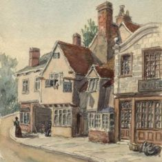 'Bridge Street, Hitchin' by G. H. Kitchen, 1885 (ref. CV/HIT/17) | Hertfordshire Archives & Local Studies