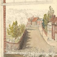 'View from the Window of my Lodgings (Redlands, St Albans)' by G. H. Kitchen, 1885 (ref. CV/ST.A/502) | Hertfordshire Archives & Local Studies