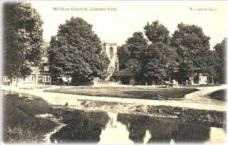 Early postcard of the village- taken from far side of the village pond
