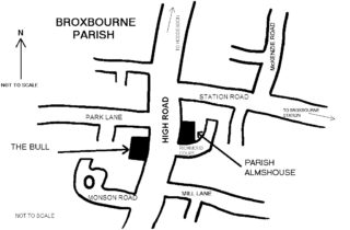 Sketch map showing the site of the Parish almshouse, later used by Laetitia Monson.