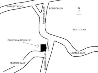 Sketch map showing the location of Richard Platt's almshouse at Delrow.