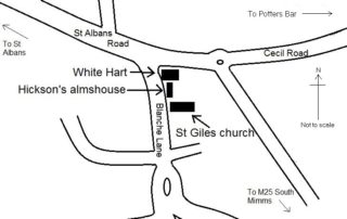 Sketch map showing the location of Hickson's almshouse at South Mimms.