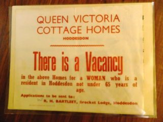 Vacancy advert for Victoria Cottage Homes.  | Courtesy of Lowewood Museum