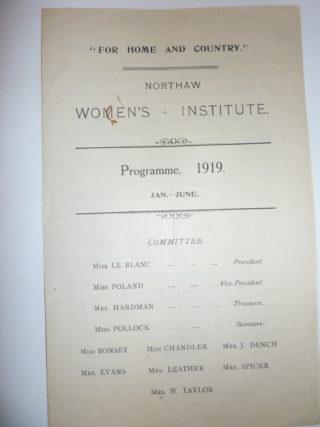 Northaw W I programme