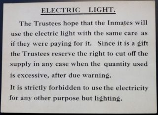 The notice about appropriate use of electricity. | Courtesy of Lowewood Museum
