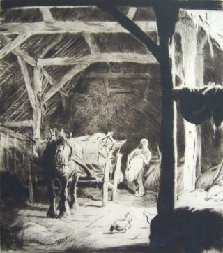George Soper: Loading Sacks in the Barn