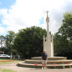 Eric stood infront of the Potters Bar War Memorial | Eric Riddle