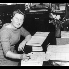 Mrs Betty Everett, booking clerk at Standon Station 1958-64. | Lent by Stephen Ruff