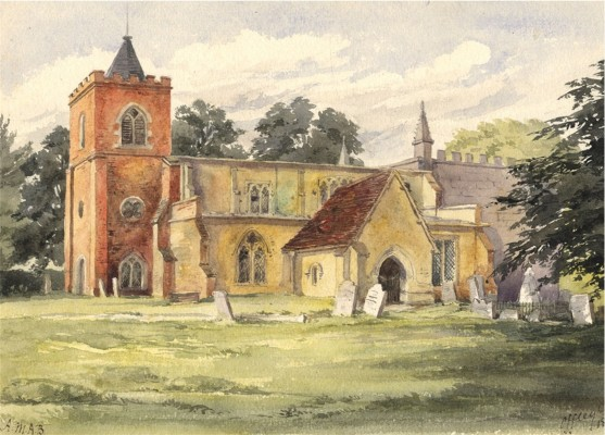 A view of the church in 1874 - a watercolour by Alice M.A. Baumgartner