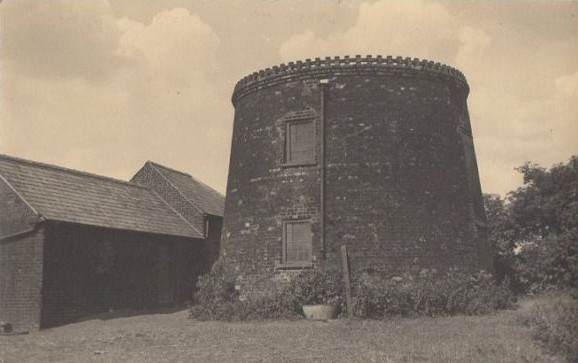 The remains of the windmill tower at Mill Farm. This picture probably take in the 1950s.