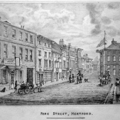 An etching of Fore Street in the mid 1800s | Hertfordshire Archives and Local Studies
