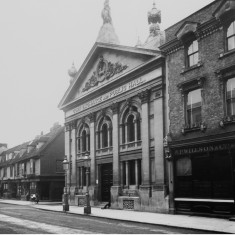 The new Corn Exchange is pictured here after the creation of Market Street, the entrance to which can be seen on the far side. The building on the right is Wilson's wine shop. | Hertfordshire Archives and Local Studies/Mr Elsden