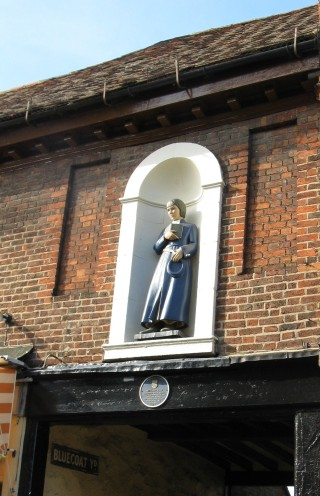 The statue over the entrance to Bluecoat Yard in Ware | Fiona MacDonald