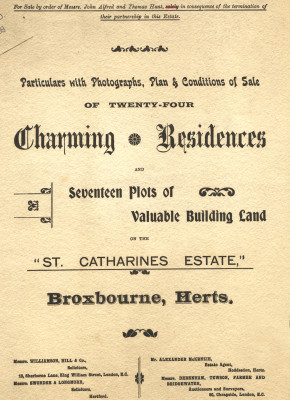Cover of the sales particulars of 1898 | Hertfordshire Archives and Local Studies ref D/EL1215