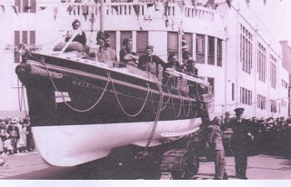 Launch of Lifeboat AGUILA WREN which during it's service with the RNLI was called out seventy-four times and saved the lives of thirty eight people