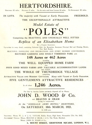 From sale particulars in 1923 | Hertfordshire Archives & Local Studies