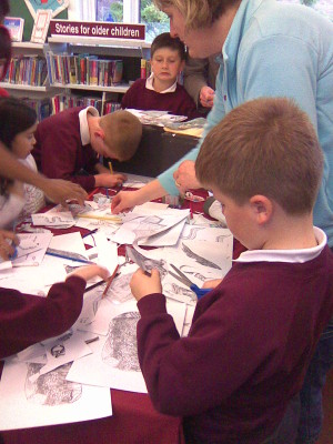 Cutting out dragons at Kings Langley | Hertfordshire Library Service