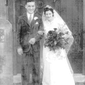 Edna Howlett & Dennis Hurley marry at St. Ethelreda's church in Hatfield, 1943 - Welwyn Hatfield Museum Service