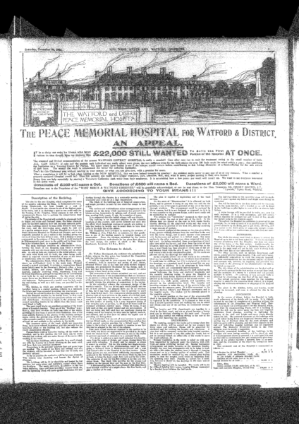 Watford Observer Peace Memorial Hospital Appeal circa 1920's.