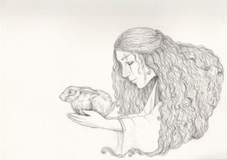 On the eve of battle Boudicca would release a Hare to determine the course of her armies – pencil drawing from Joanna Scott | Copyright Joanna Scott