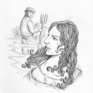 Pencil drawing of Jane Wenham arguing with the farmer by Joanna Scott | Copyright Joanna Scott