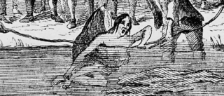 Engaving of a woman tied and in the water | Unkown