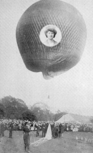 Dolly Shepherd with a Balloon ready to take off.