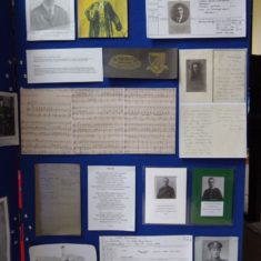 Display depicting details of former Hertford Grammar school pupils who lost their lives in WW1.