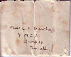 Envelope from Edward Packe to Claudia Barclay in France