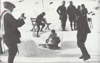 Vera Barclay at the Junction start, above the village, St Moritz
