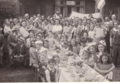 Photos of my dad in sports clubs and VE  day celebrations