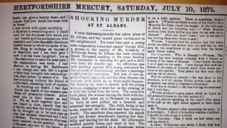 The crime as reported in the Hertfordshire Mercury 10th  July 1875