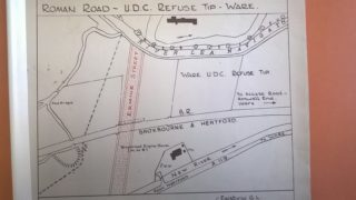 diagram of Ermine street across the railway (see red lines)