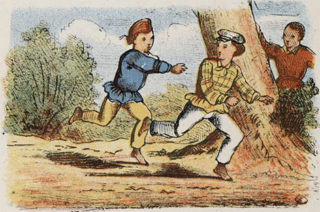 Dutch cartoon of children playing tag | Public Domain