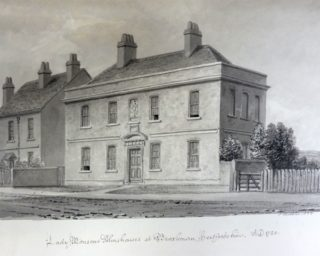 Laetitia Monson's almshouse, drawn by J C Buckler c1835, showing the building before the extensions were added. | Hertfordshire Archives & Local Studies ref DE/Gb/4/34