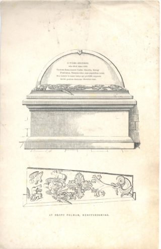 Drawing of Piers Shonks's Tomb, St Mary's Church | Hertfordshire Archives & Local Studies