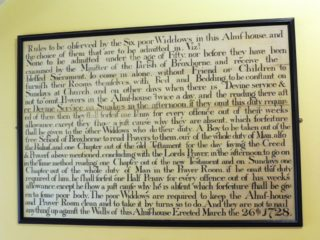 A copy of the rules board, on display at Lowewood Museum in 2017. The original is at the almshouse. 2017 | Colin Wilson