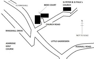 Sketch map showing the location of the Bede houses.