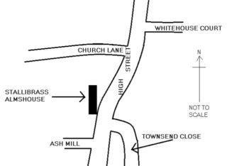 Sketch map showing the location of the Stallibrass almshouse.