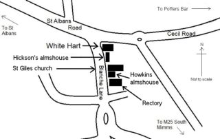Sketch map showing the location of Howkins' almshouse.