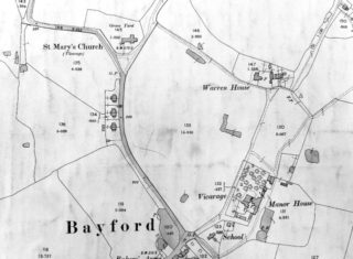 Bayford as shown on 1898 OS map XXXVI.6. The almshouses were probably in the area of Warren House | Courtesy of Hertfordshire Archives and Local Studies