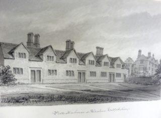 Richard Platt's almshouse at Aldenham. Drawing by J C Buckler (1825 - 30) | Hertfordshire Archives & Local Studies ref DE/Bg/4/94