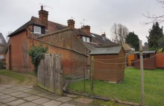 Rear view of the almshouses, as seen from the back yard of Francis Wigg's almshouse. 2017   Colin Wilson