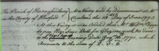 Extract from Hertingfordbury Vestry minutes June 1773, recording payment of the glazier's bill from 1771. Note that 'church' is deleted and replaced with 'almshouse' | Courtesy of Hertfordshire Archives and Local Studies. Ref D/P50/8/*