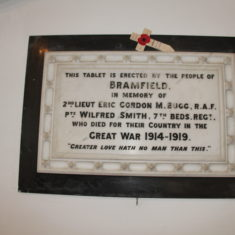 Bramfield. Men who died in Great War. Inside St Andrew's Church, 14, Main Road, SG14 2QJ.   Eric Riddle