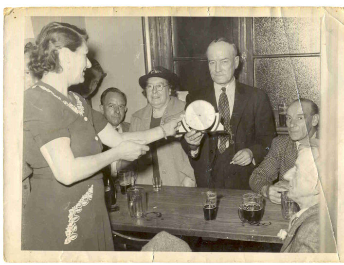 Tom Miles, manager of the Spread Eagle, retirement in 1952