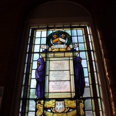 Hitchin. First World War. The truly stunning stained glass windows in the Library of Hitchin Boys Grammar School. Grammar School Walk, SG5 1JB | Eric Riddle